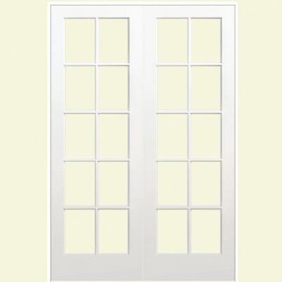 prehung interior french doors home depot masonite 60 in x 80 in smooth 10 lite solid primed 27394