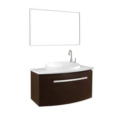 Virtu USA Anabelle 40 in. Single Basin Vanity in Walnut with Stone Vanity Top in White and Mirror