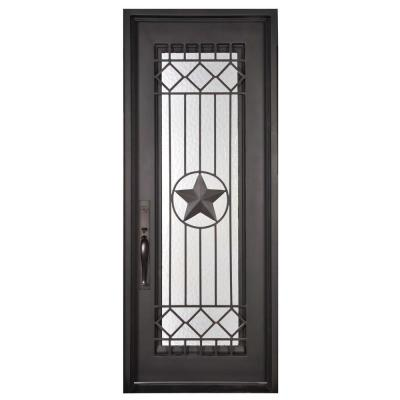 46 in. x 97.5 in. Texas Star Classic Full Lite Painted Oil Rubbed Bronze Wrought Iron Prehung Front Door Product Photo