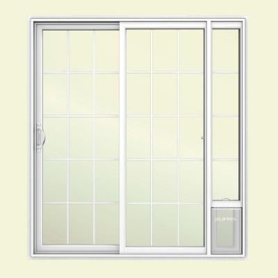 JELD-WEN 72 in. x 80 in. White Left Hand Vinyl Patio Door with Low-E Argon Glass, Grids and Small Pet Door