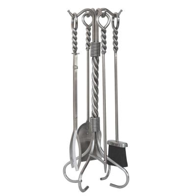 Stainless Steel 5-Piece Fireplace Tool Set with Ring/Twist Handles