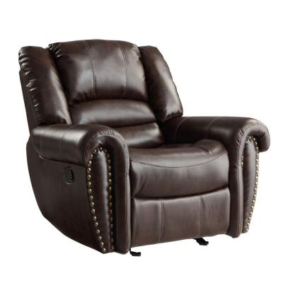 Merida Nailhead Accent Bonded Leather Recliner in Chocolate Product Photo