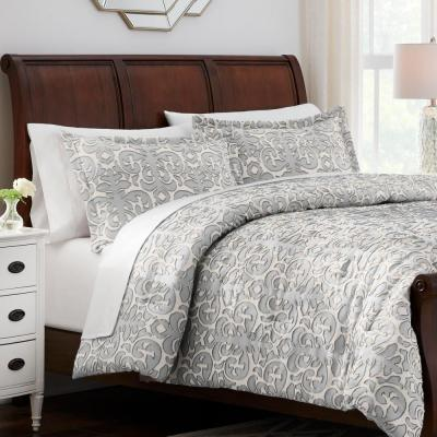 Averly 3-Piece Gray Clipped Jacquard Comforter Set