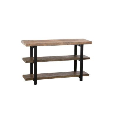 Pomona Rectangular Rustic Natural Metal and Wood Media Console Table Product Photo