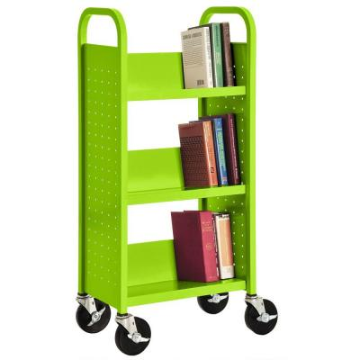 Single Sided Sloped 3-Shelf Booktruck in Electric Green