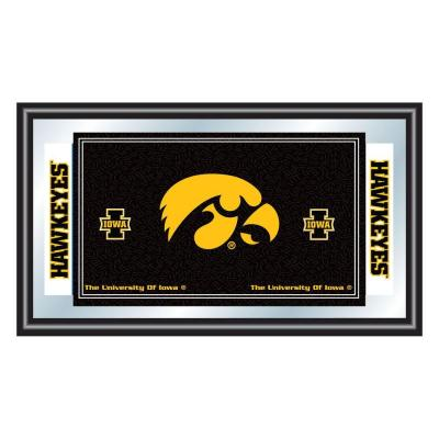 Trademark University of Iowa 15 in. x 26 in. Black Wood Framed Mirror