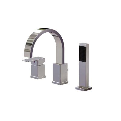 Ultra Series 1-Handle Deck-Mount Roman Tub Faucet with Handshower in Polished