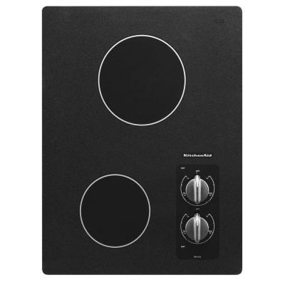 KitchenAid Architect Series II 15 in. Ceramic Glass Electric Cooktop in Black with 2 Elements