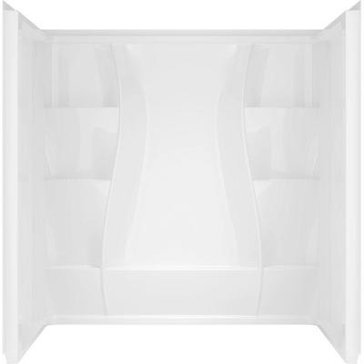 Classic 400 32 in. x 60 in. x 74 in. 3-Piece Direct-to-Stud Shower Surround in White Product Photo