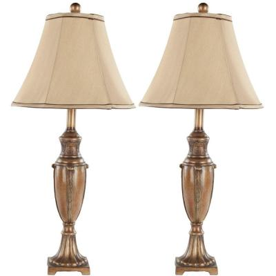 Sabrina 25.75 in. Gold Urn Lamp with Beige Shade (Set of