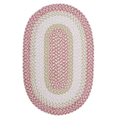 Blokburst Tea Party Pink 4 ft. x 6 ft. Oval Braided