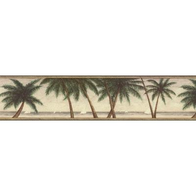The Wallpaper Company 6.75 in. x 15 ft. Green Palm Tree Border