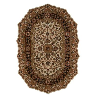 Home Decorators Collection Masterpiece Beige and Black 4 ft. 6 in. x 6 ft. 6 in. Oval Area Rug