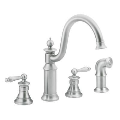MOEN Waterhill 12 in. 2-Handle High-Arc Bridge Kitchen Faucet in Classic Stainless