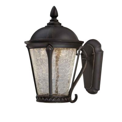 Home Decorators Collection Cottrell Wall-Mounted Outdoor Aged Bronze Patina LED Powered Lantern