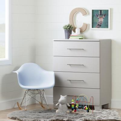 South Shore Cuddly 4-Drawer Soft Gray Chest