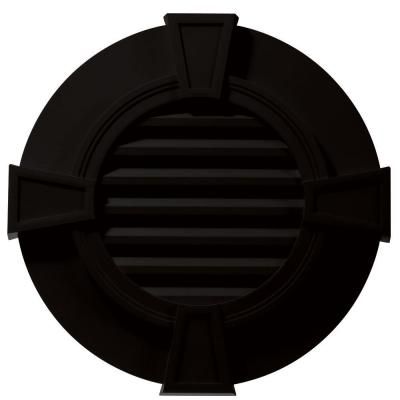 30 in. Round Gable Vent with Keystones in Black Product Photo