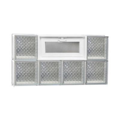 Frameless Diamond Pattern Vented Glass Block Window