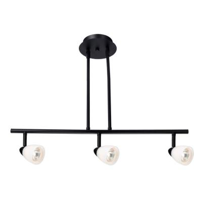 Design House Jerico 3-Light Oil Rubbed Bronze Rail Lighting with Frosted White Glass Shades