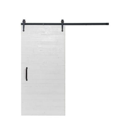 42 in. x 84 in. Rustica Reclaimed White Wood Barn Door with Arrow Sliding Door Hardware Kit Product Photo