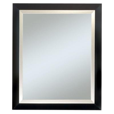 null Executive Black Frame with Silver Trim Wall Mirror