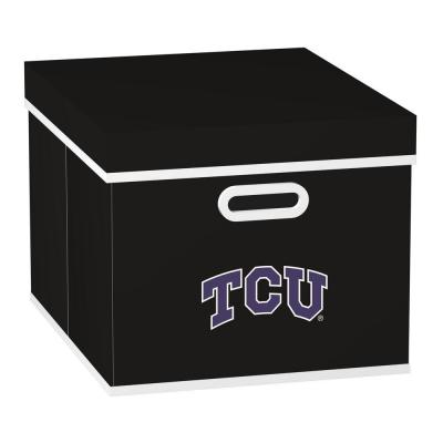 MyOwnersBox College STACKITS Texas Christian University 12 in. x 10 in. x 15 in. Stackable Black Fabric Storage Cube