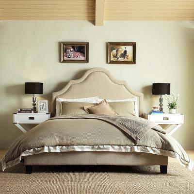 HomeSullivan Beauvais Beige Queen Upholstered Bed