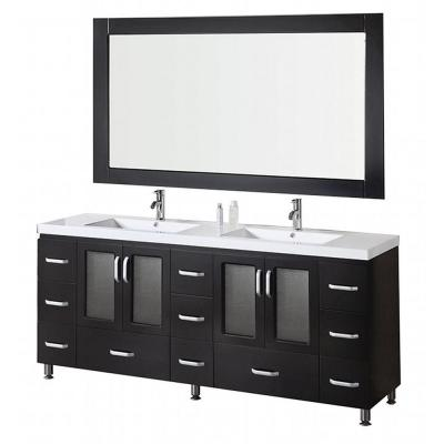 Design Element Stanton 72 in. W x 22 in. D Vanity and Mirror in Espresso with Acrylic Vanity Top in White