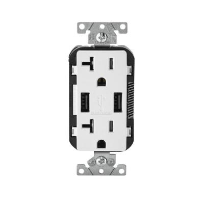 Decora 20 Amp 125-Volt Combination Duplex Receptacle and USB Charger, White