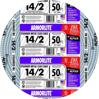 Southwire 50 ft. 14/2 Stranded MC Armorlite Cable