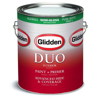 Glidden DUO 1 gal. White Semi-Gloss Interior Paint and Primer