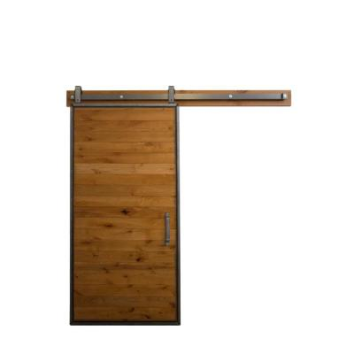 36 in. x 84 in. Mountain Modern Clear Wood Barn Door with Mountain Modern Sliding Door Hardware Kit Product Photo