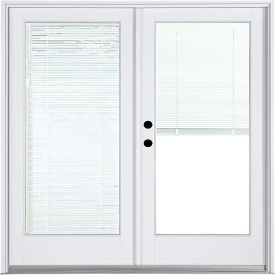 59-1/4 in. x 79-1/2 in. Fiberglass White Right-Hand Inswing Hinged Patio Door with Low-E Blinds Between Glass Product Photo