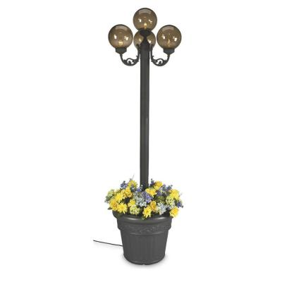 Patio Living Concepts 20 in. European Park Style Four Bronze Globe Plug-In Outdoor Black Lantern with Planter