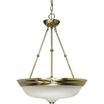 3-Light Antique Brass Pendant with Frosted Swirl Glass Product Photo