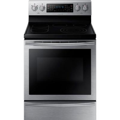 Samsung 30 in. 5.9 cu. ft. Flex Duo Double Oven Electric Range with Self-Cleaning Dual Convection Oven in Stainless Steel