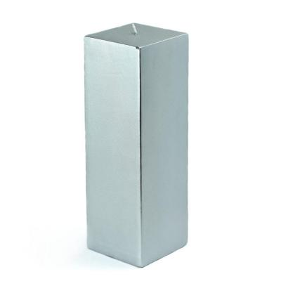 Zest Candle 3 in. x 9 in. Metallic Silver Square Pillar Candle Bulk (12-Box)