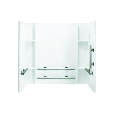 Accord 32 in. x 60 in. x 74 in. 3-piece Direct-to-Stud Tub and Shower Wall Set in White Product Photo