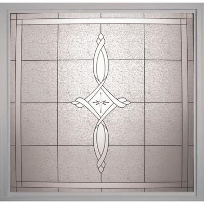 25 in. x 25 in. Decorative Glass Fixed Vinyl Window - Tan Product Photo