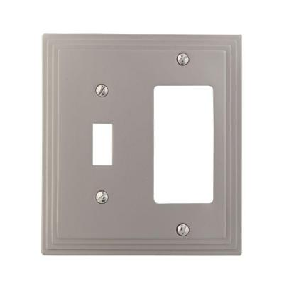 Amerelle Steps 1 Toggle 1 Decorator Wall Plate - Nickel-DISCONTINUED