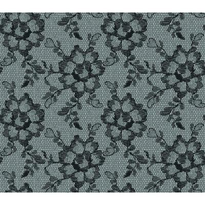 56 sq. ft. Lace Textured Smokey Black Wallpaper