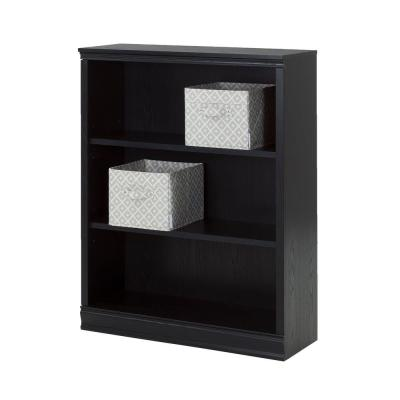 Morgan 3-Shelf Bookcase with 2 Canvas Storage Baskets in Black Oak Product Photo
