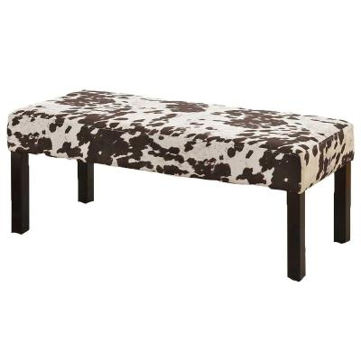 Simple Fabric Accent Bench with Cushion in Brown and White Cow