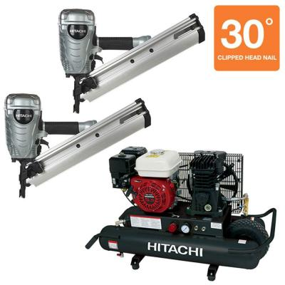 Hitachi (2) 3-1/2 in. Paper Collated Framing Nailer and 8 Gal. Gas Powered Wheeled Air Compressor (3-Piece)