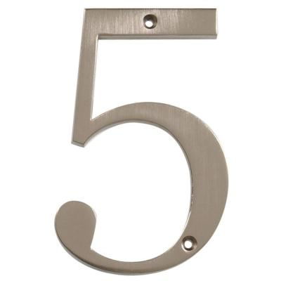 The Hillman Group Distinctions 4 in. Flush Mount Brushed Nickel House Number 5