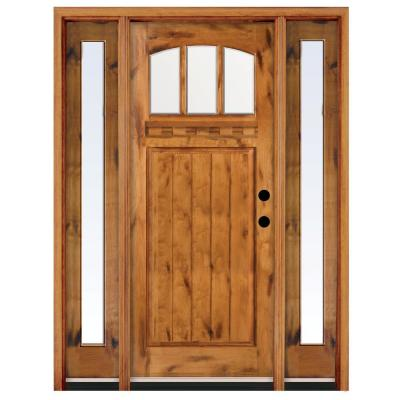 68 in. x 80 in. Craftsman 3 Lite Arch Stained Knotty Alder Wood Prehung Front Door with Sidelites Product Photo