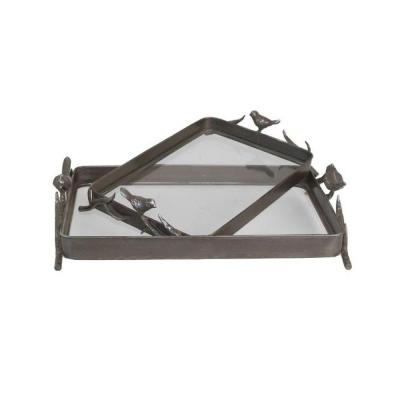 Home Decorators Collection 20.5 in. W Metal Rust Bird Tray Set- (Set of 2)-DISCONTINUED