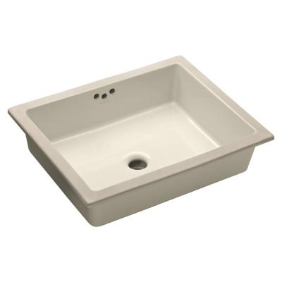 KOHLER Kathryn Vitreous China Undermount Bathroom Sink with Glazed Underside in Biscuit with Overflow Drain