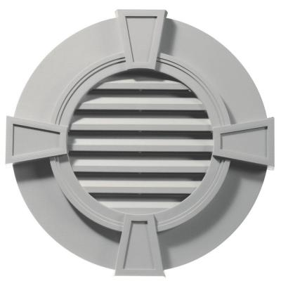 30 in. Round Gable Vent with Keystones in Paintable Product Photo