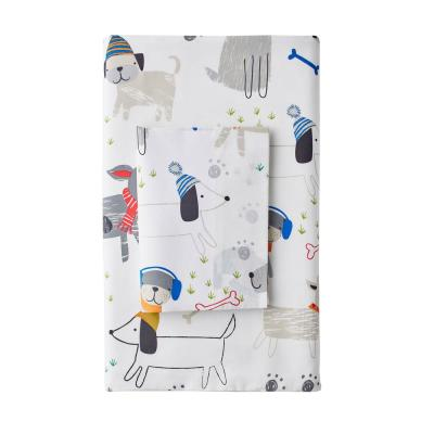 Playful Pups 200-Thread Count Cotton Percale Flat Sheet